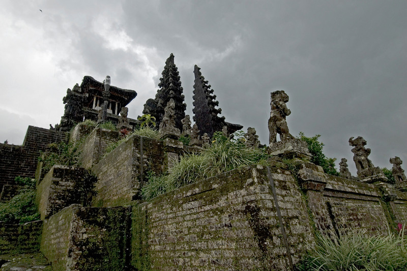 Moss covered ruins of Mother Temple of Besakih in Bali, Indonesia