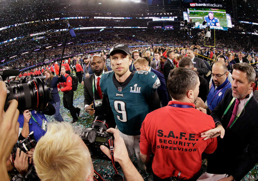 . Philadelphia Eagles quarterback Nick Foles (9) walks on the field after winning the NFL Super Bowl 52 football game against the New England Patriots, Sunday, Feb. 4, 2018, in Minneapolis. The Eagles won 41-33. (AP Photo/Frank Franklin II)