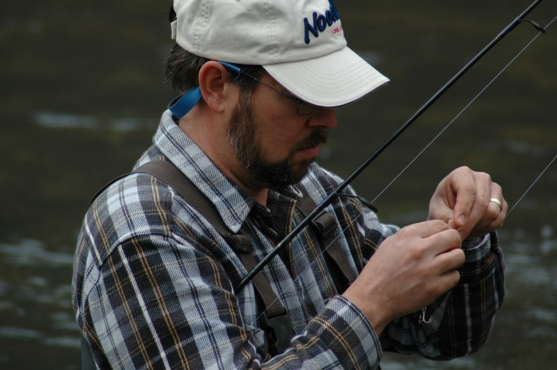 Chris ties on a new lure.