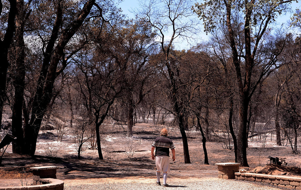 """. \""""It was a wall of fire,\"""" said James Goble, 63, as he assessed fire damage done by the Silver Fire just outside of his 3-acre property along Twin Pines Road in the mountains south of Banning August 8, 2013.   GABRIEL LUIS ACOSTA/STAFF PHOTOGRAPHER."""