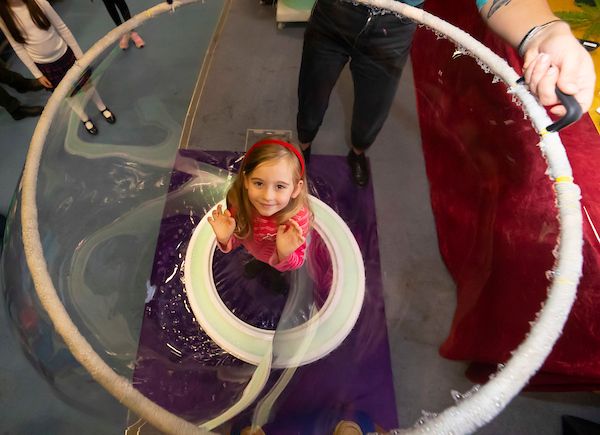 FREE TO USE IMAGE. Pictured during Science Week with WIT (Waterford Institute of Technology) by Calmast. Pictured during the Bubble show with the London Science Museum at WIT. Pictured is Emily Croke from Waterford. Picture: Patrick Browne