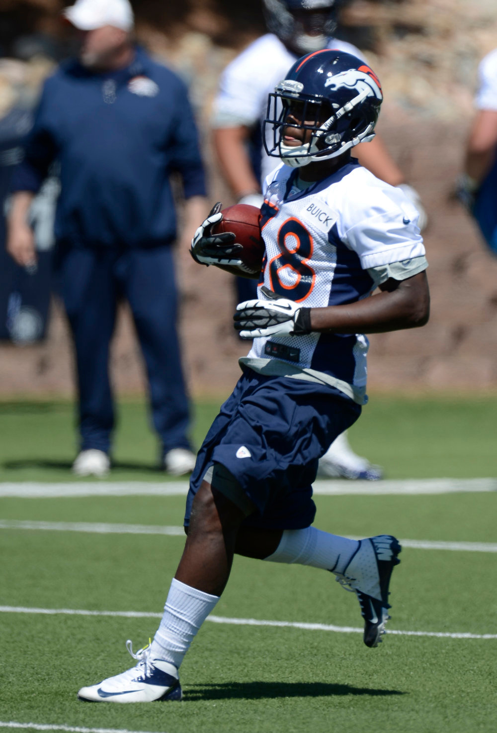 . Montee Ball (38) RB of the Denver Broncos runs up field during the last day of rookie mini camp May 12, 20313 at Dover Valley.   (Photo By John Leyba/The Denver Post)