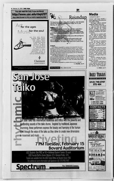 Daily Trojan, Vol. 139, No. 23, February 14, 2000