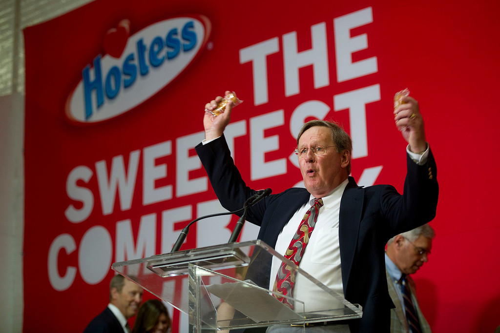 . Rich Seban, president of Hostess Brands LLC, speaks during an event marking the ceremonial restart of Twinkie snake cake production at the company\'s bakery in Schiller Park, Illinois, U.S., on Monday, July 15, 2013. Hostess Brands LLC officially revives sales of the iconic Twinkie snack cake today, following a seven-month hiatus after the original company decided to liquidate under bankruptcy. Photographer: Daniel Acker/Bloomberg