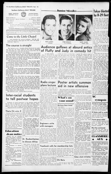 Daily Trojan, Vol. 36, No. 101, April 16, 1945