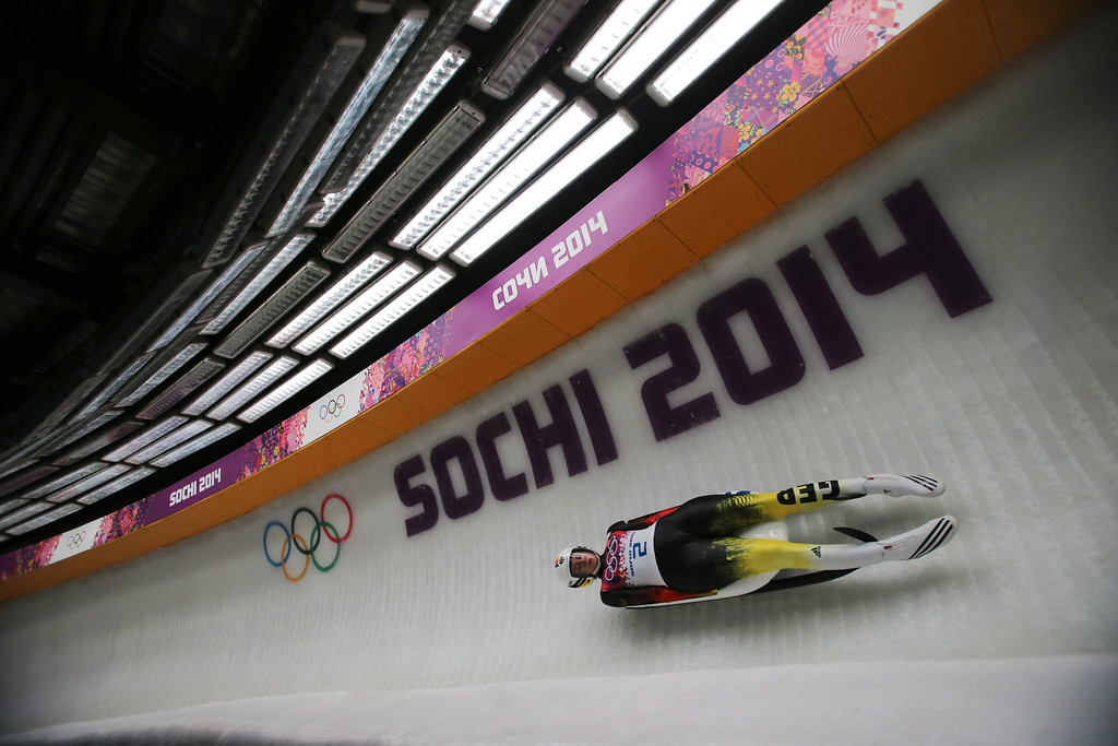 . Natalie Geisenberger of Germany in action during the Women\'s Singles Luge Run in Sliding Center Sanki at the Sochi 2014 Olympic Games, Krasnaya Polyana, Russia, 10 February 2014.  EPA/Fredrik Von Erichsen