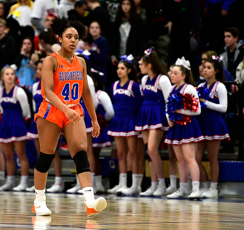 3/5/2019 Mike Orazzi | Staff Bloomfield's Leigh Ann LaBad (40) during the Class S Quarterfinals Girls Basketball Game Tuesday night in Bristol.