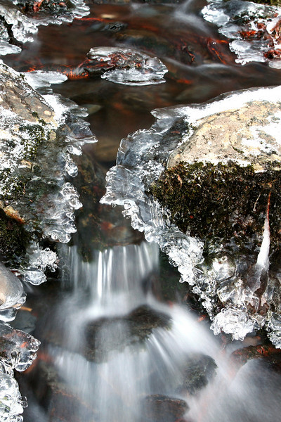Isolated on a very small section of a frozen stream on Hwy 441 about 1/2 mile toward Gburg from the Morton Overlook.  There were limitless opportunities for tight shots but this was one of my favorites.  This image was captured during Wilderness Wildlife Week in Jan. 2008.