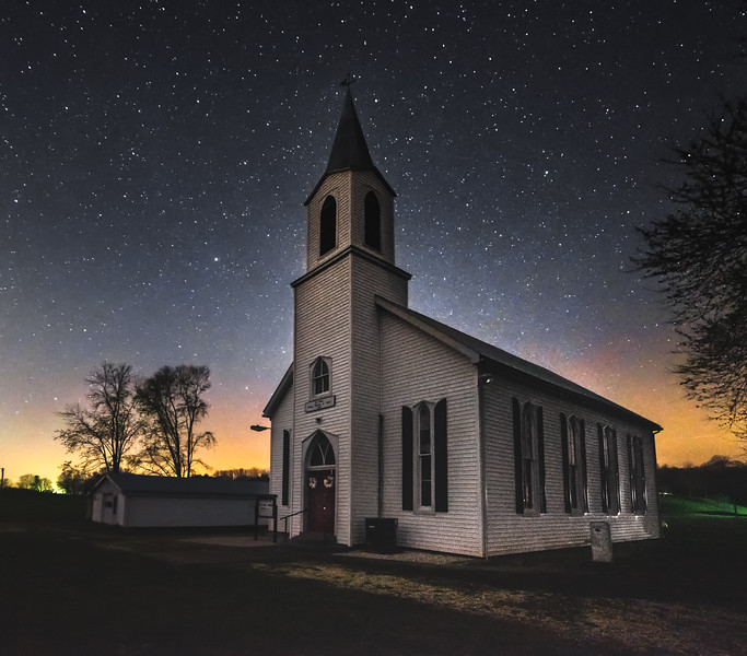Country church under the stars (New Haven, MO)