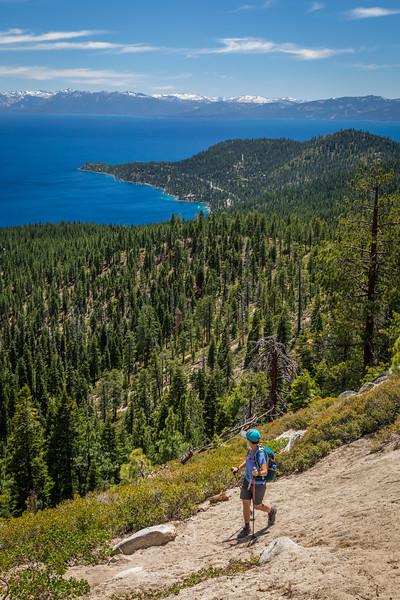 Women hiker on Lake Tahoe Trail