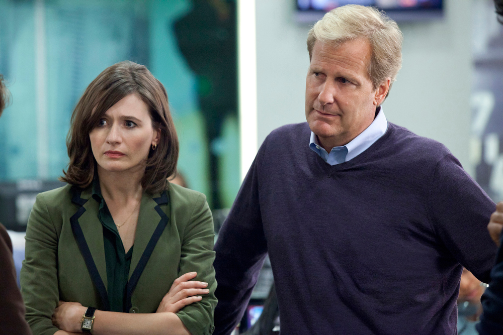 Description of . This publicity image released by HBO shows Emily Mortimer as Mackenzie MacHale , left, and Jeff Daniels as Will McAvoy on the HBO series,