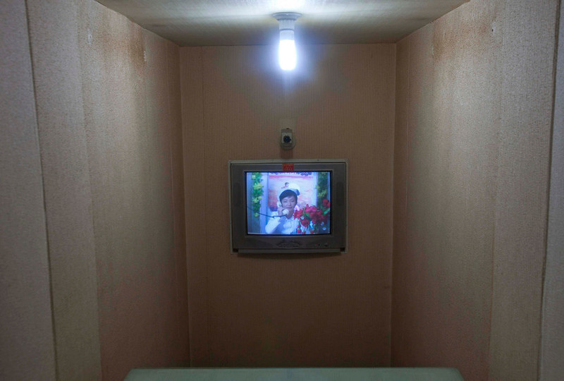 . A North Korean nurse speaks by video conference and telephone to a doctor inside a maternity hospital in Pyongyang, North Korea on Tuesday Oct. 11, 2011. (AP Photo/David Guttenfelder)