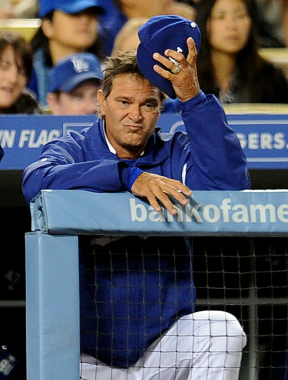 . Los Angeles Dodgers manager Don Mattingly reacts as starting pitcher Clayton Kershaw (not pictured) gave-up a run in the sixth inning of their baseball game against the San Diego Padres on Wednesday, April 17, 2013 in Los Angeles.   (Keith Birmingham/Pasadena Star-News)