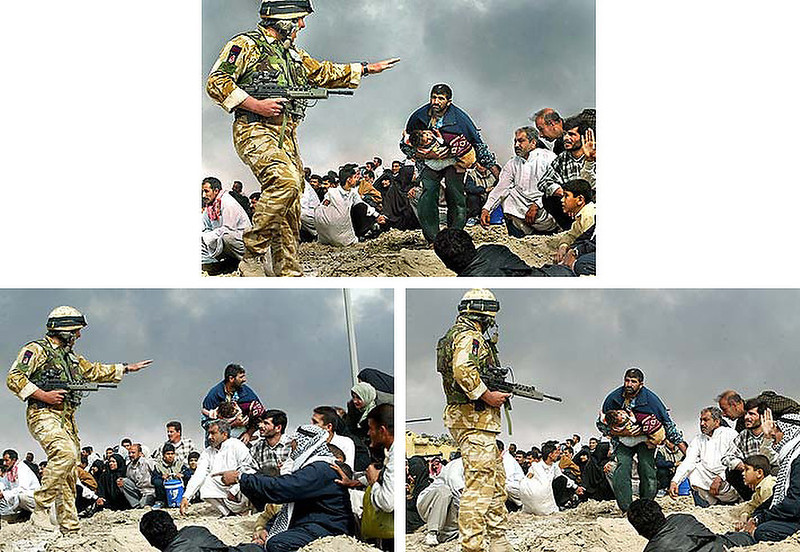 """. April 2003:  This digital composite of a British soldier in Basra, gesturing to Iraqi civilians urging them to seek cover, appeared on the front page of the Los Angeles Times shortly after the U.S. led invasion of Iraq. Brian Walski, a staff photographer for the Los Angeles Times and a 30-year veteran of the news business, was fired after his editors discovered that he had combined two of his photographs to \""""improve\"""" the composition.   SOURCE: http://www.cs.dartmouth.edu/farid/research/digitaltampering/"""