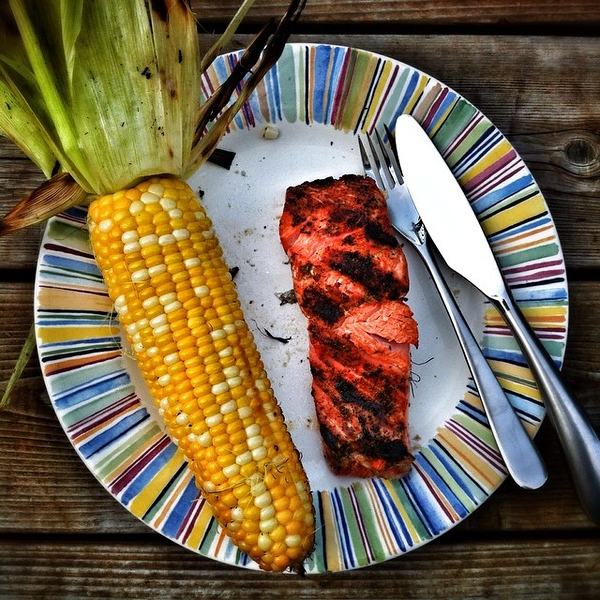 On the table tonite: grilled Alaskan #Sockeye #Salmon with grilled summer #corn