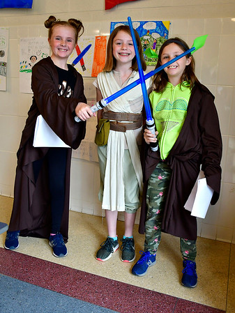 5/3/2019 Mike Orazzi | Staff West Bristol School's Avery Browning, Sadie Greaves and Kyla Browning during Star Wars day on Friday.