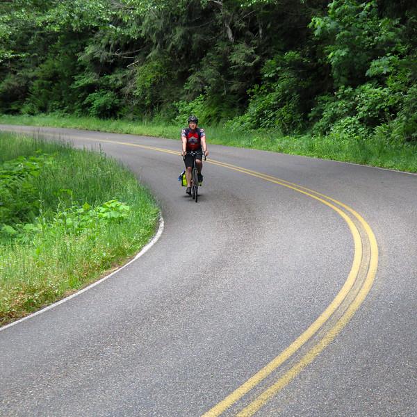 Jeremy, climbing back up 'Ballmer Peak' (Bald Peak). The eastbound direction isn't as steep.