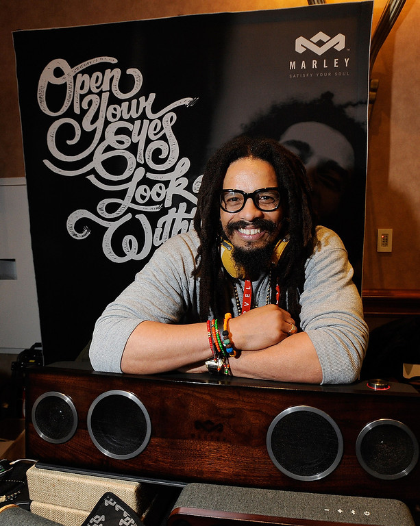 . Rohan Marley, son of late Reggae musician Bob Marley, displays the USD 799 One Foundation speaker system from the House of Marley at a press event at the Mandalay Bay Convention Center for the 2013 International CES on January 6, 2013 in Las Vegas, Nevada. (Photo by David Becker/Getty Images)
