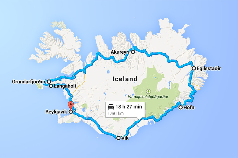 Ring Road Map Iceland