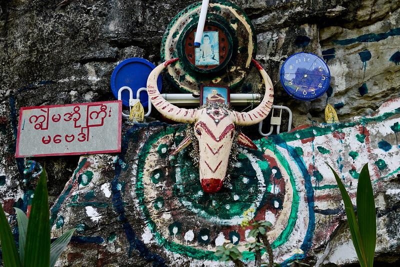 Animist worship in Hpa-an, Myanmar. in Hpa-An, Burma.