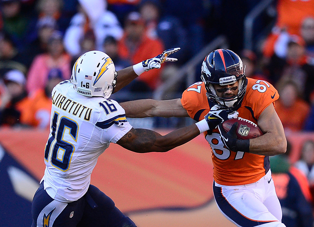 . Denver Broncos wide receiver Eric Decker (87) runs back a punt and gets away from San Diego Chargers wide receiver Seyi Ajirotutu (16) in the first quarter. The Denver Broncos take on the San Diego Chargers at Sports Authority Field at Mile High in Denver on January 12, 2014. (Photo by AAron Ontiveroz/The Denver Post)