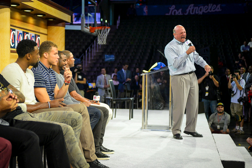 . New Clippers owner Steve Ballmer addresses his team and fans at Staples Center Monday August 18, 2014.  ( Photo by David Crane/Los Angeles Daily News )