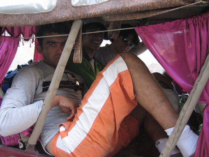 After another mile, we picked up Zaheer, who was suffering from sun burn from sitting out on the roof all day!