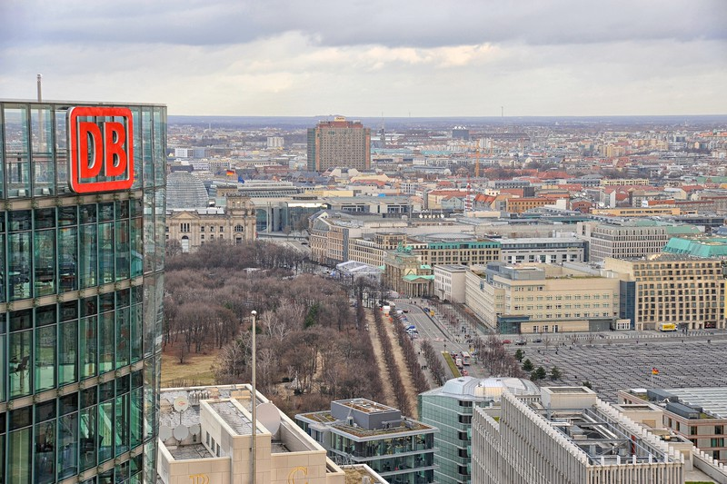 View from the Kollhof Building with  DB building to the left, the Ritz Carlton next to it, the Holocaust Memorial in front of the American Embassy, the Brandenburg gate middle left and the old East Berlin in the distance.