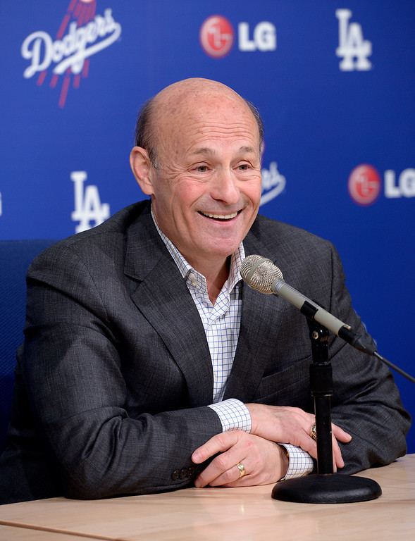 . Dodger Owner Stan Casten held a press conference at Dodger Stadium to formally announce the $215 million contract for pitcher Clayton Kershaw. Los Angeles, CA January 15, 2014.(John McCoy/Los Angeles Daily News)
