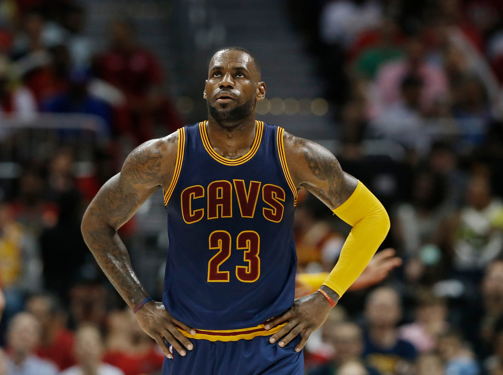 . Cleveland Cavaliers forward LeBron James (23) walks on the court in the first half of Game 4 of the second-round NBA basketball playoff series against the Atlanta Hawks, Sunday, May 8, 2016, in Atlanta. (AP Photo/John Bazemore)