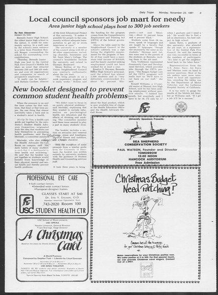 Daily Trojan, Vol. 91, No. 57, November 23, 1981