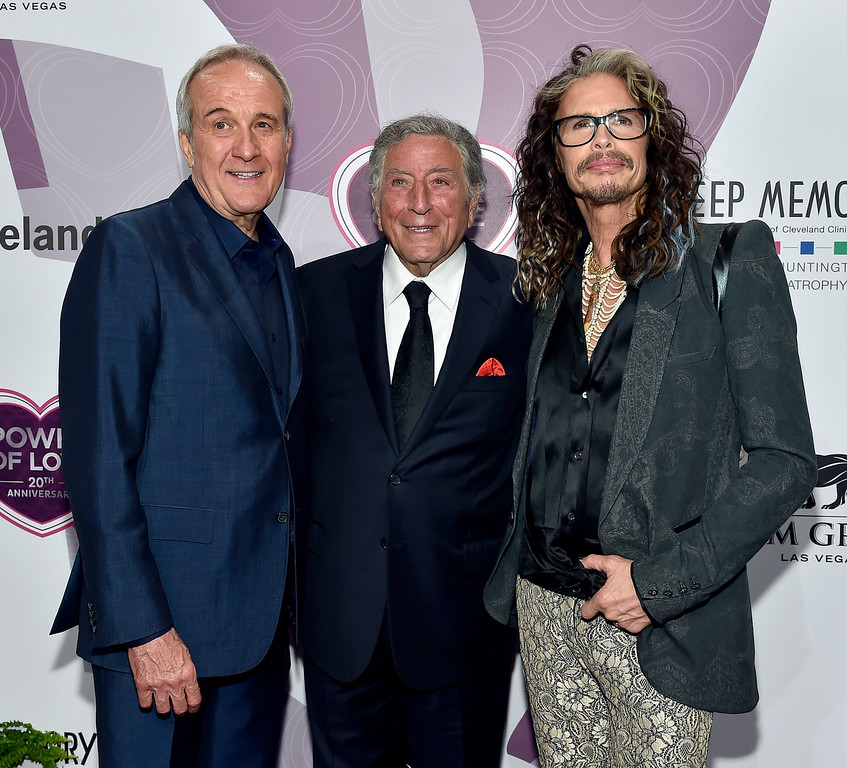 . (L-R) Co-Founder and Chairman of Keep Memory Alive Larry Ruvo, honoree Tony Bennett, and recording artist Steven Tyler attend Keep Memory Alive\'s 20th Annual Power Of Love Gala at the MGM Grand Garden Arena on May 21, 2016 in Las Vegas City.  (Photo by David Becker/Getty Images for Keep Memory Alive)
