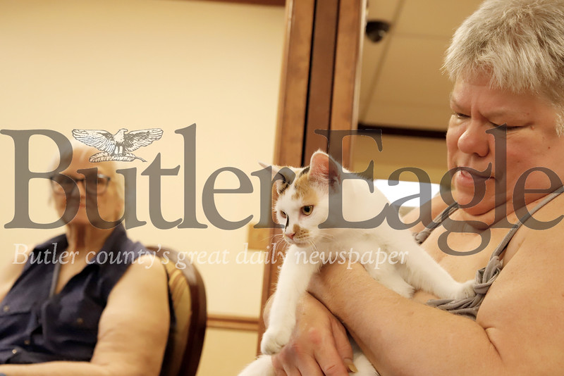 Debbie Anderson cuddles with a Butler County Humane Society cat. 08/01/19 Seb Foltz/Butler Eagle