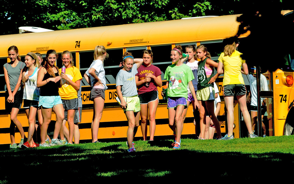 . Forest Lake girls cross country team members arrive for a practice and team-building picnic at Minnehaha Falls Park. The combination practice and team picnic helps build a unified team.  (Pioneer Press: Jean Pieri)