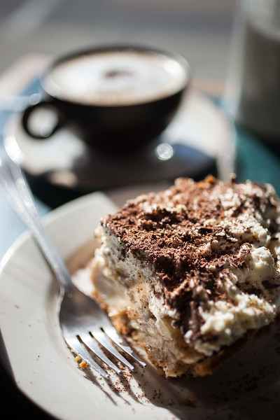 Food in and around Warwick New York. A slice of 'Banoffee' Pie and a cappucino at Noble Pies in downtown Warwick.
