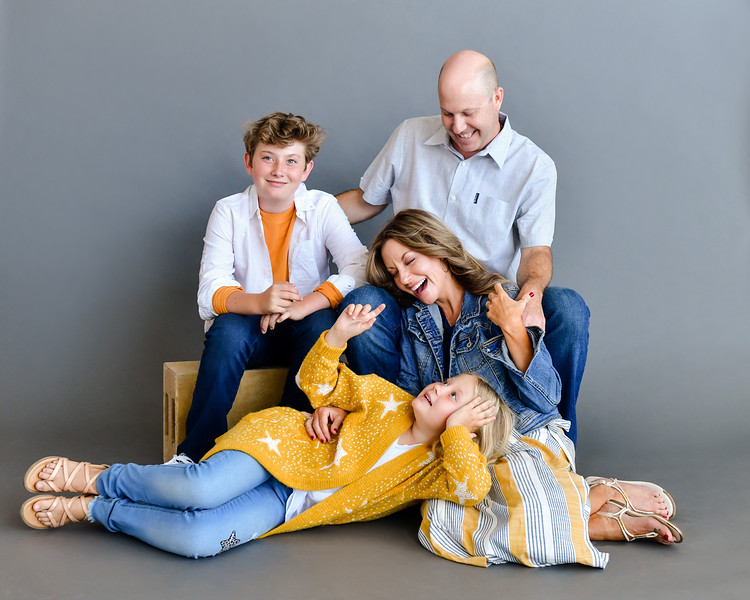 Family Photos on Grey Seamless