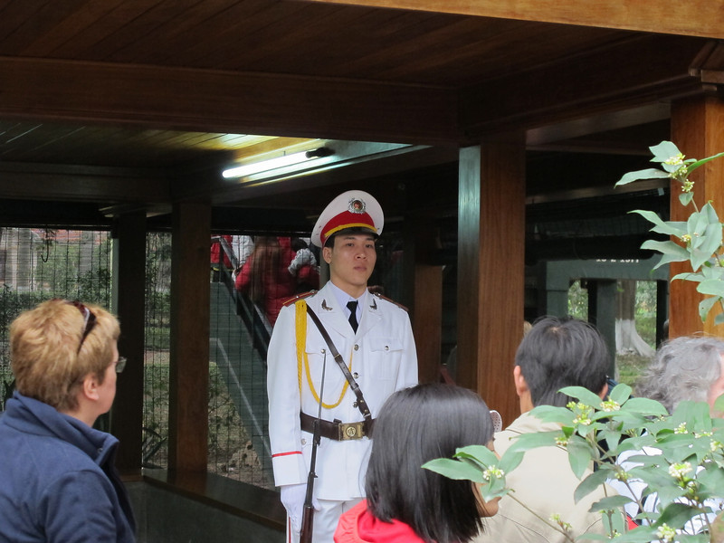 Guard at Ho Chi Minh's residence in Hanoi.