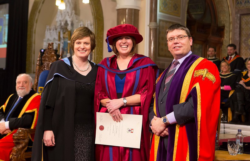 Waterford Institute Of Technology Conferring. Pictured at WIT Waterford Institute Of Technology Conferring is Bernadette Whelan, Waterford, who was conferred a Doctor of Philosophy by Dr. Ruaidhrí Neavyn, President WIT. Picture: Patrick Browne