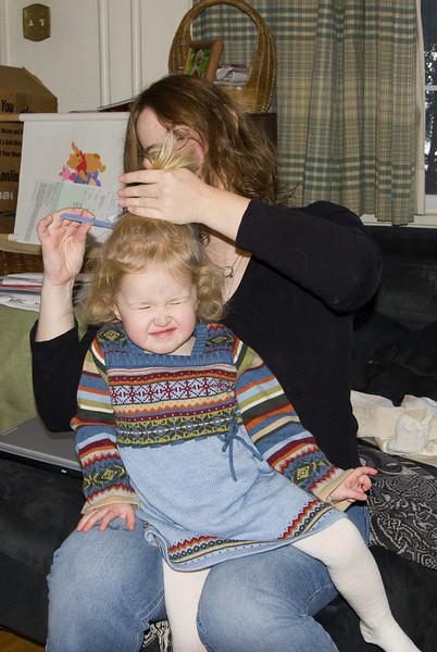 Doing Beverly's hair