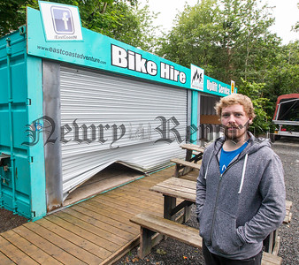 "© NewRayPics.com  24  Jul 2016 Northern Ireland     -     -   Peter Taylor , Mountain bike centre Manager, shows where the shuttering was forced open.   A number of mountain bikes worth tens of thousands of pounds have been stolen from a Co Down business.  13 bikes were taken sometime between Friday night and Saturday morning from the Rostervor Mountain Bike Centre in KIlbroney Park, Rostrevor.  Rostrevor Mountain Bike Centre, known for its challenging trails around the hills of Kilbroney Park at the edge of the Mournes, appears to have been targeted by a well organised gang.  The thieves managed to get into the Rostrevor  Mouton Bike  Centre by forcing open the metal shutters  to a height  of 15 inches and then entered the steel container , where they cut open locks securing the bikes and then forcing them out threw the small gap in the shuttering the robbery took over 90 minutes from start to finish  It's the second time the business has been targeted in the past month, with 20 bikes stolen as well the first time.  Peter Taylor , Mountain bike centre Manager, said it was a crippling blow for them.  "" our survival depends on our ability to hire these bikes out to the public,"" he said.  picture Newraypics.com"