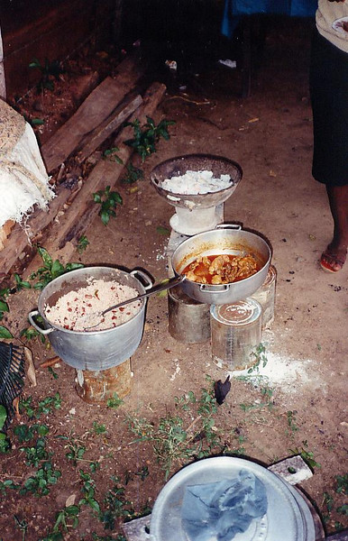 Elder Hansen and Elder Salleh tried cooking on some outdoor stoves.  It didn't turn out too bad.  Rice & peas and chicken stew - pretty standard Jamaican fare.  The family we cooked for did all their cooking outdoors since they didn't have electricity or gas.
