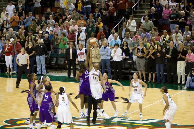 Tip off Seattle Storm vs. Sacramento Monarchs. 7/27/2008 6:00pm PDT. Key Arena Seattle, WA.