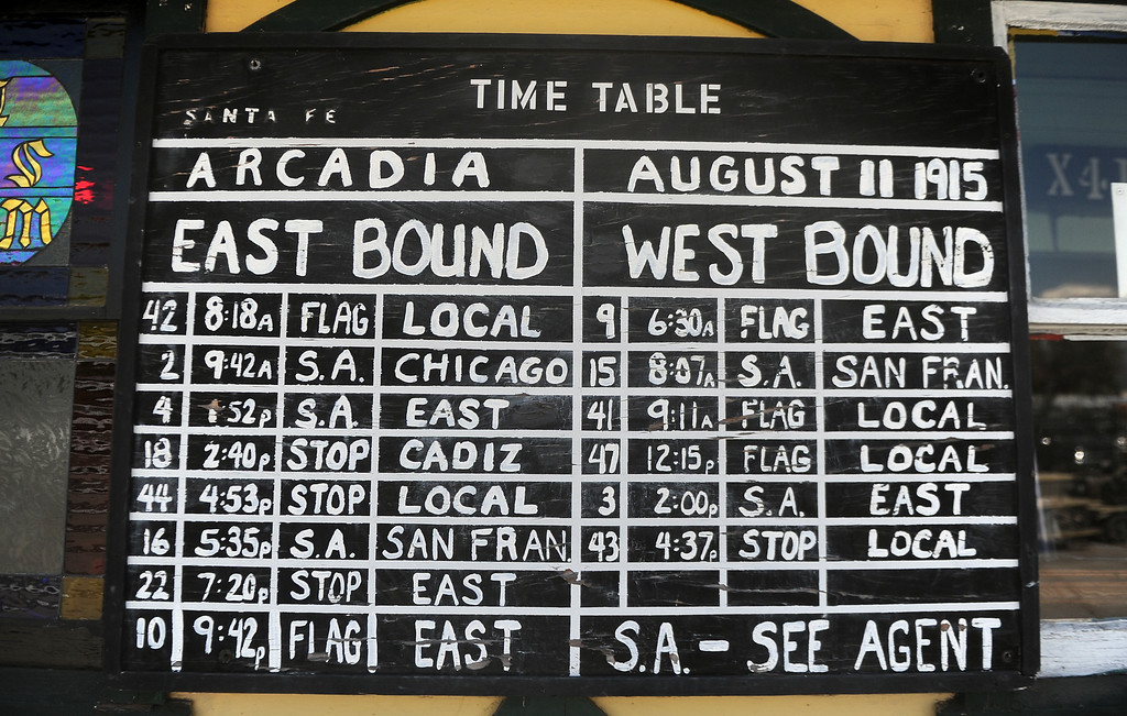 . The time table in from of the depot in the Railgiants Train Museum during the 91st Annual L.A. County Fair in Pomona, Calif. on Thursday, Sept. 5, 2013.   (Photo by Keith Birmingham/Pasadena Star-News)