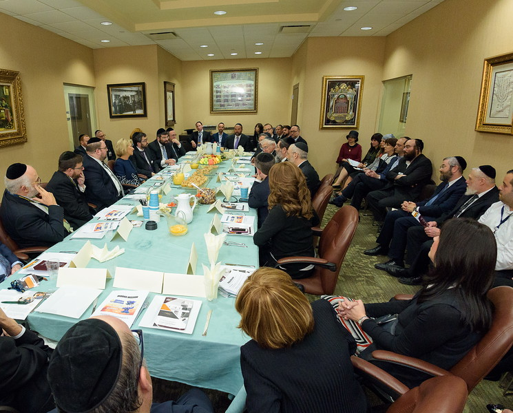 Education Secretary Betsy DeVos at a roundtable meeting with parents, teachers, alumni and board members of Yeshiva Darchei Torah.