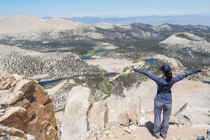 Enjoying the view of the Cottonwood Lakes Basin from the top of Cirque Peak.