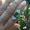 4.05ct Emerald and Old European Cut Diamond Ring 12