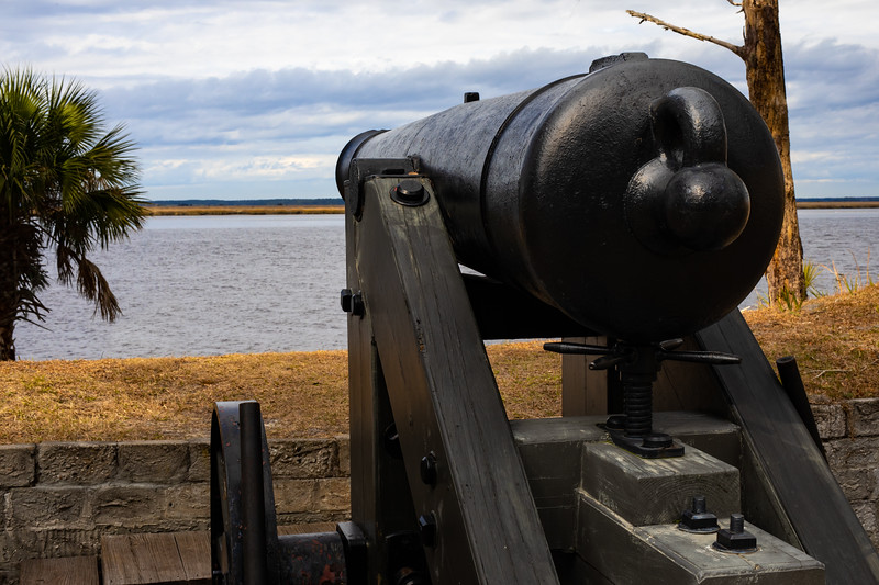 A 32 lb Hot Shot Gun was used to fire heated cannonballs at wooden ships.
