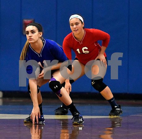 10/18/2017 Mike Orazzi | Staff St. Paul's Olivia Genovese (11) and Lindsey O'Bright (16) during volleyball with Goodwin Tech in Bristol Wednesday.