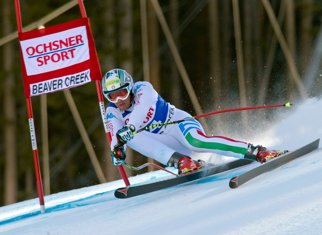 . Werner Heel from Italy, speeds down the course during the men\'s World Cup super-g ski race in Beaver Creek, Colo., on Saturday, Dec. 1, 2012. (AP Photo/Nathan Bilow)