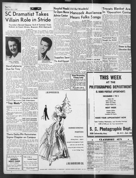 Daily Trojan, Vol. 39, No. 53, December 01, 1947